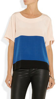 Tibi Winston color-block silk crepe de chine top