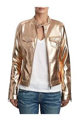 True Religion Women's Metallic Vegan Leather Moto Jacket
