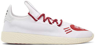 adidas x Pharrell Williams White and Red Human Made Tennis Hu Sneakers