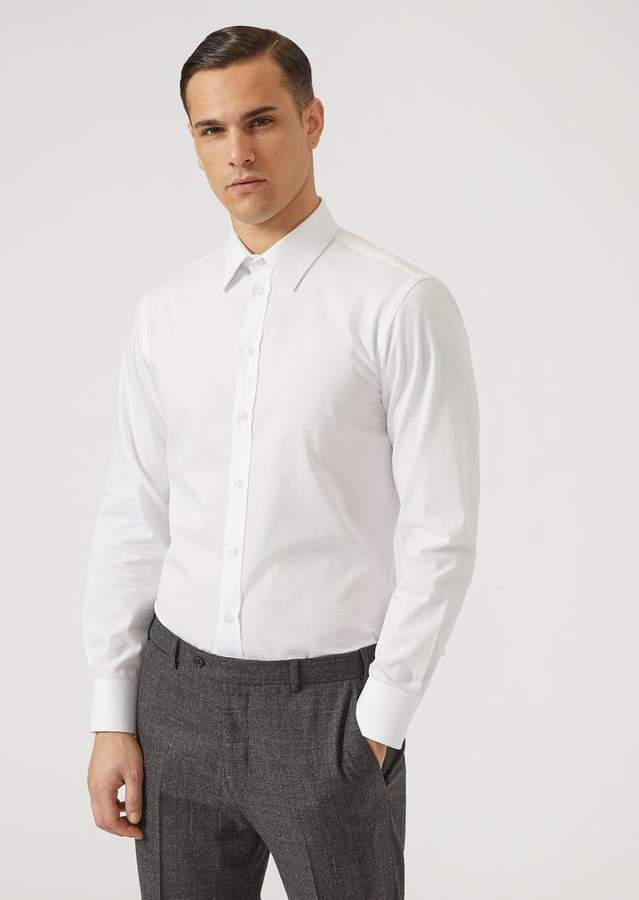 Emporio Armani Micro-Weave Pure Cotton Shirt With Classic Collar