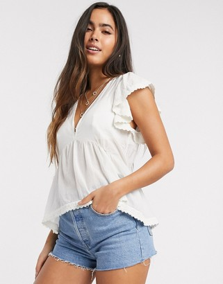 Y.A.S v-neck smock top with lace detail in cream