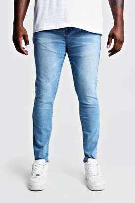 boohoo Mens Blue Plus Size Skinny Fit Jeans, Blue