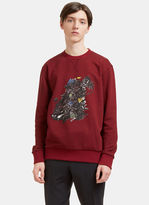 Lanvin Men's Printed Graphic Crew Neck Sweater In Burgundy