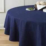 "Crate & Barrel Linden Indigo Blue 90"" Round Tablecloth"