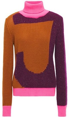 Just Cavalli Color-block Intarsia-knit Turtleneck Sweater