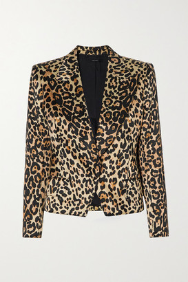Tom Ford Cropped Leopard-print Cotton And Silk-blend Satin Blazer - Brown