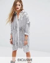 Religion Oversized Longline Shirt In Silver Sequin