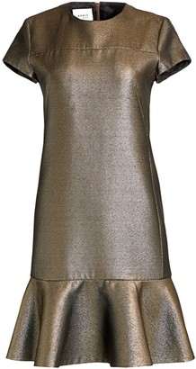 Akris Punto Lame Cap-Sleeve Dress