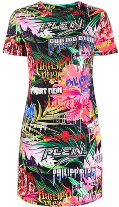 Philipp Plein logo short-sleeve T-shirt dress