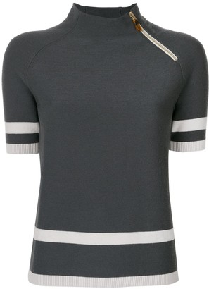Giorgio Armani Off-Center Zip Knitted Top