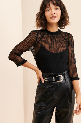 ModCloth 3/4 Sleeve Knit Lace Top