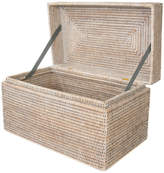 Trunks Artifacts Trading Company Artifacts Rattan Rectangular Hinged Chest, White Wash, Small