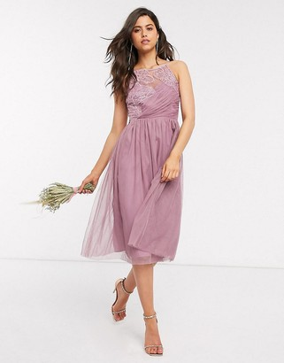 Little Mistress Little Misstress bridesmaid hand-embellished midi dress in pink