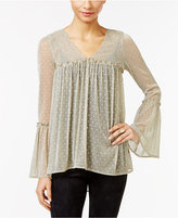 ECI Metallic Bell-Sleeve Blouse