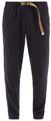 White Sand - Pinstriped Belted Chinos - Mens - Navy Multi