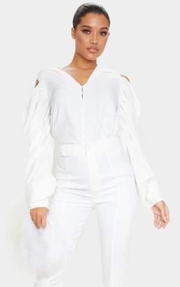 PrettyLittleThing Black Woven Cold Shoulder Extreme Sleeve Shirt