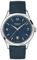 Montblanc Leather Strap Watch, Blue/silver