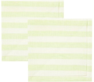Luisa Beccaria Set Of Two Striped Eyelet Linen Napkins - Green