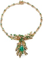 Mellerio Emerald cabochon pendant diamond 18k yellow gold necklace