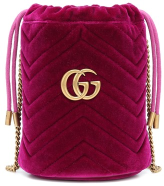 Gucci GG Marmont Mini velvet bucket bag