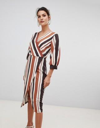 Closet London wrap dress in contrast stripe-Multi