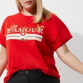 River Island Womens Plus red 'amour' print boyfriend T-shirt