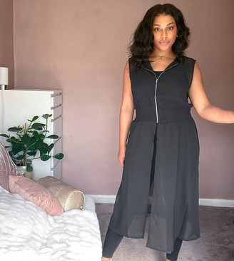 Noisy May Curve sheer longline top with zip front in black