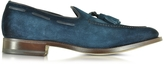 Santoni Blue Suede Loafer Shoes w/Tassels