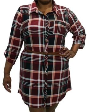 Full Circle Trends Trendy Plus Size Plaid Shirtdress