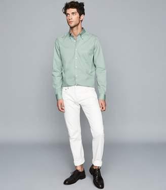 Reiss Blanco - Slim Fit Button Down Shirt in Sage