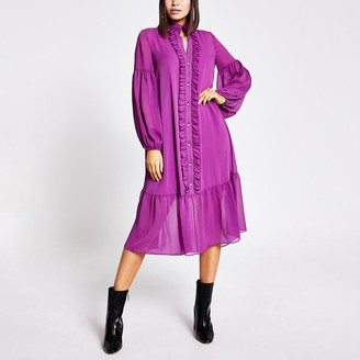 River Island Purple frill long sleeve midi smock dress