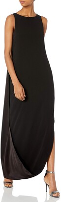 Halston Women's Sleeveless Satin Cami Gown with Cape Back