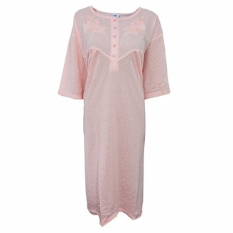 I Smalls i-Smalls Ladies Cool Cotton Floral Print Short Sleeve Nightdress Plus Sizes with Lilac Eye Mask (5XL) Pink Spots
