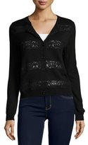 Joie Fabiana Lace-Trim Cardigan, Black