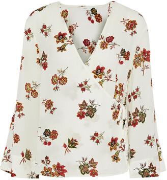 A.L.C. Ray Floral-print Silk-crepe Wrap Blouse