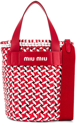 Miu Miu Straw Bucket Bag in Red & White | FWRD
