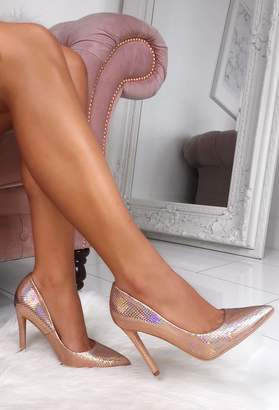 Pink Boutique Psychedelic Champagne Mermaid Metallic Court Shoes