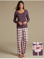 M&S Collection Pure Cotton Checked Long Sleeve Pyjamas with StayNEWTM
