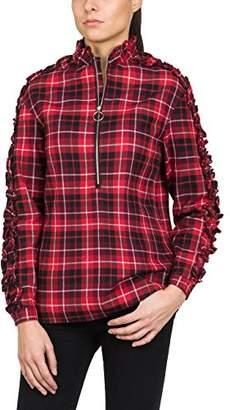 Replay Women's Karo Hemd Blouse, (Red/White/Black Check 10), Large