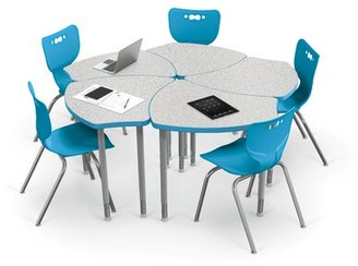 """Hierarchy Classroom Set Desks & Chairs MooreCo Seat Height: 16"""", Seat Color: Blue, Lamination: Nebula"""