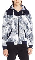 Southpole Men's Full Zip Hoodie with Body Cut and All Over Patterns