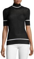 Moncler Half-Sleeve Ribbed Turtleneck Top, Black