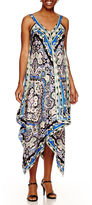 Ronni Nicole Sleeveless Scarf-Print Handkerchief-Hem Maxi Dress