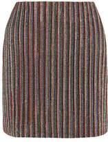 Emilia Wickstead Striped Metallic Ribbed-knit Mini Skirt - UK8
