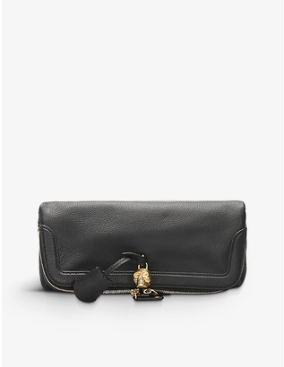 Pre-loved Alexander McQueen fold-over leather clutch bag