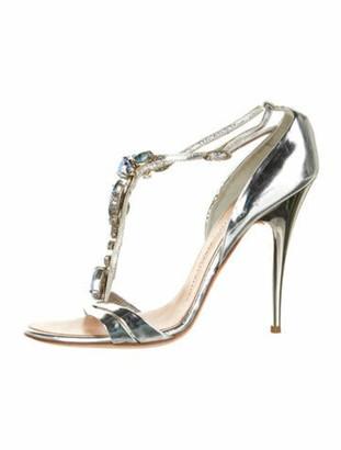 Giuseppe Zanotti Leather Crystal Embellishments T-Strap Sandals Silver