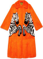 Gucci Mink coat with zebra intarsia