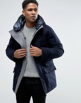 Celio Paded Parka with High Neck Detail in Wool Mix