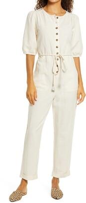 Madewell Puff Sleeve Tassel Tie Linen Blend Jumpsuit