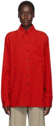 Kwaidan Editions Red Fluid Wool 70s Collar Shirt